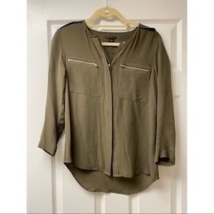 Theory Green Silk Blouse with Gold Zipper Pockets